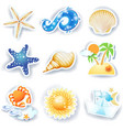holidays on the beach set of icons vector image
