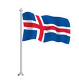 iceland flag isolated wave flag iceland country vector image vector image