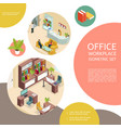 isometric office interior template vector image vector image