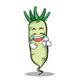 joy face white radish cartoon character vector image vector image