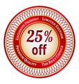 Label on 25 percent discount vector image vector image