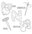 letter n english alphabet education for children vector image