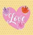 love pink heart and birds flying card vector image vector image
