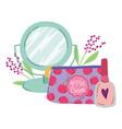makeup fashion beauty mirror cosmetic bag and nail vector image vector image