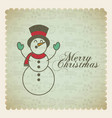 merry christmas snowman decoration card vector image vector image