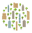 modern buildings and skyscrapers with green trees vector image vector image