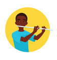 musician playing flute boy flutist is inspired to vector image vector image
