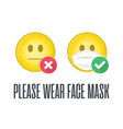 please wear face mask vector image vector image