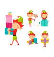 santa claus kids cartoon elf helpers vector image vector image