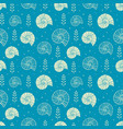 seamless background with ammonites and sea shells vector image