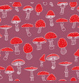 seamless pattern of fly agarics hand-drawn vector image