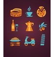 set of Italy icons vector image vector image
