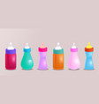 set of realistic of baby bottles for your cr vector image