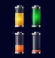 set transparent different charging battery vector image vector image