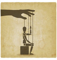 sitting puppet with his hand up vintage background vector image vector image