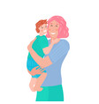 smiling young mother holding her baon her hands vector image