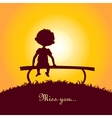 Sunset silhouette of a lonely boy vector image vector image
