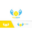 tennis and people logo combination game vector image
