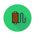 thread spool icon on round background vector image vector image