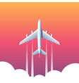 top view plane above clouds vector image
