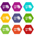 toy truck icon set color hexahedron vector image vector image