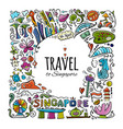 travel to singapore greeting card for your design vector image