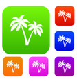 two palms set collection vector image vector image