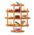 wall-mounted wooden shelf with books isolated on vector image