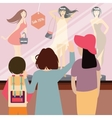 woman and kids standing in front sale item vector image vector image