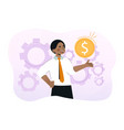 young smiling businessman is holding gold coin vector image vector image