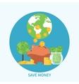 Piggy bank and coin saving money concept vector image