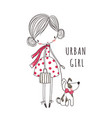 urban girl with dog for clothing vector image