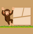 a monkey on note template vector image vector image