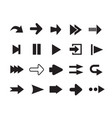arrows icons set silhouettes vector image
