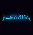 blue neon skyline brooklyn new york city vector image vector image