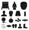 boxing extreme sports black icons in set vector image vector image