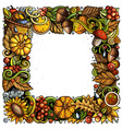cartoon cute doodles hand drawn autumn frame vector image