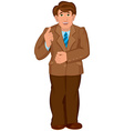Cartoon man in brown jacket and brown pants holds vector image vector image