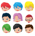 Character Cartoon Hair Head Set vector image