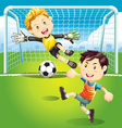 Children playing soccer outdoors vector | Price: 5 Credits (USD $5)