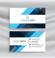 clean abstract blue business card design vector image