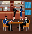 colored business lunch people composition vector image vector image