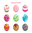 Colourful Easter Eggs Decorating Icons Set vector image vector image