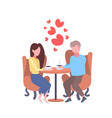 couple lovers sitting cafe table drinking coffee vector image vector image