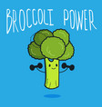 cute broccoli cartoon character doing exercises vector image