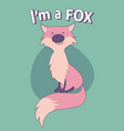 cute cartoon style fox with title above on vector image