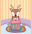 cute christmas reindeer with gifts in the house vector image vector image