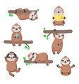 cute sloth icon set isolated vector image vector image