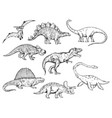 dinosaur set sketch engraving vector image