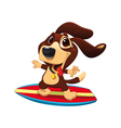 Dog with surf vector image